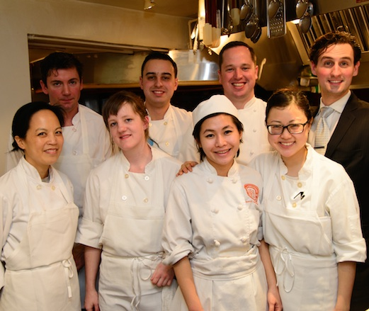 Chef Bryce Shuman with his team in the James Beard House Kitchen